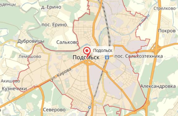 Подольск на карте