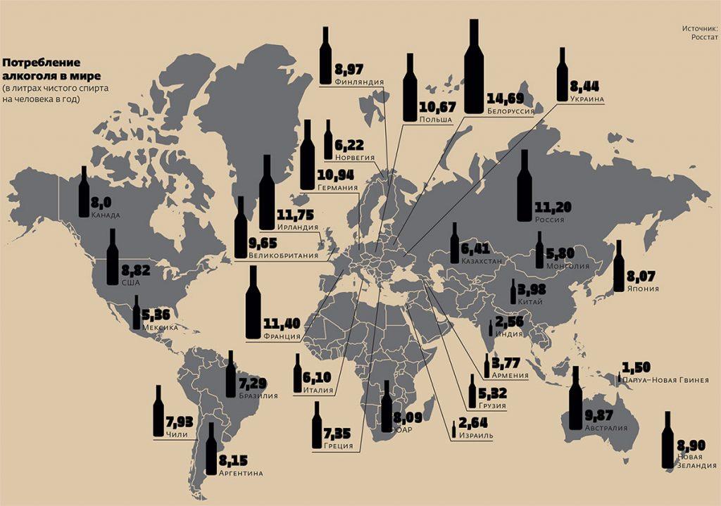 Статистика алкоголизма по миру